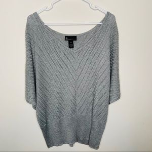 Lane Bryant Grey Scoop Neck Poncho Blouse 18/20